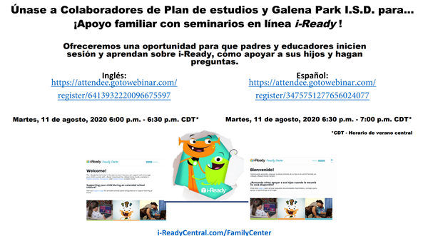 Iready Parent Invitation (Spanish)