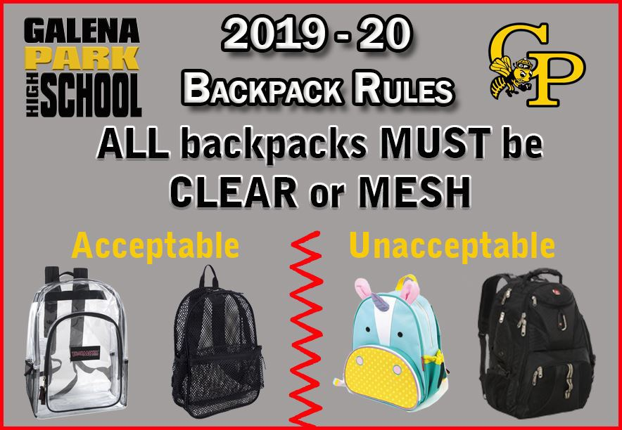 All Backpacks MUST be Clear or Mesh Type