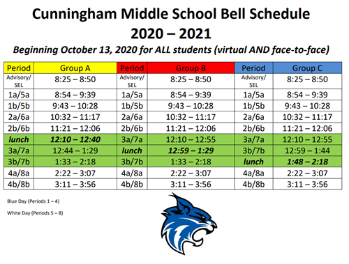 Virtual and Face to Face Bell Schedule